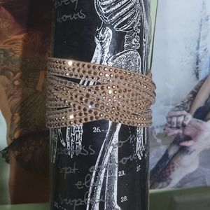 Jewelry - Tan Beaded Punk Leather Bracelet